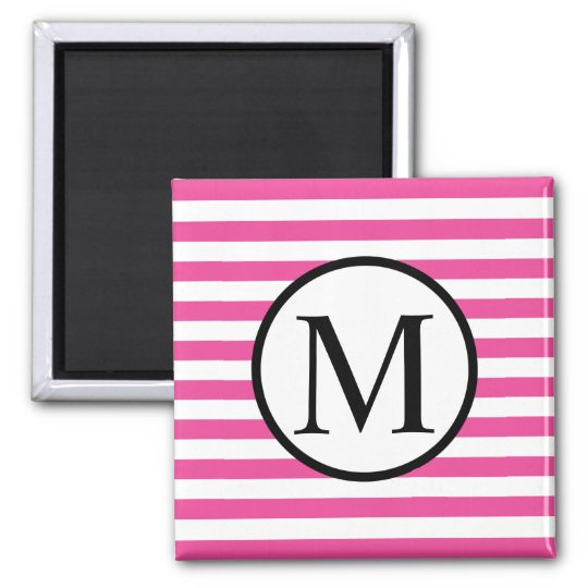 Simple Monogram with Pink Horizontal Stripes Square Magnet
