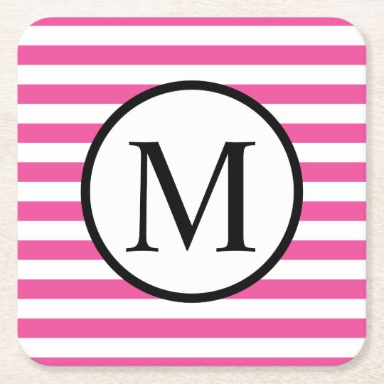 Simple Monogram with Pink Horizontal Stripes Square Paper Coaster
