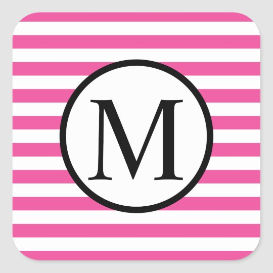 Simple Monogram with Pink Horizontal Stripes Square Sticker
