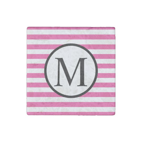 Simple Monogram with Pink Horizontal Stripes Stone Magnets