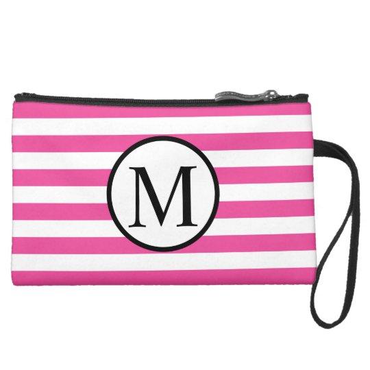 Simple Monogram with Pink Horizontal Stripes Suede Wristlet