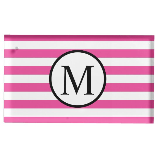Simple Monogram with Pink Horizontal Stripes Table Card Holder