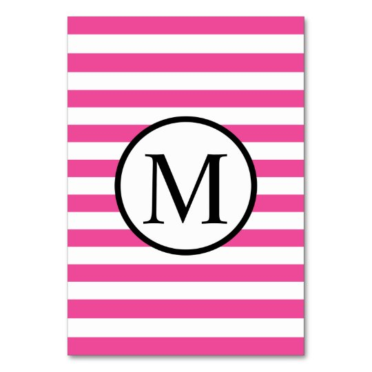 Simple Monogram with Pink Horizontal Stripes Table Cards