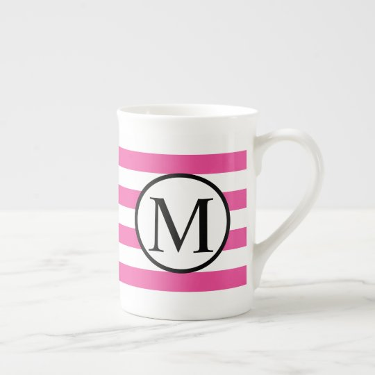 Simple Monogram with Pink Horizontal Stripes Tea Cup