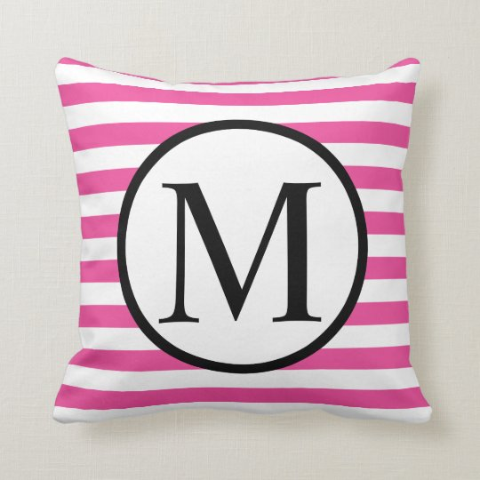 Simple Monogram with Pink Horizontal Stripes Throw Pillow