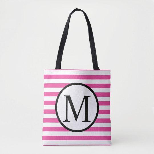 Simple Monogram with Pink Horizontal Stripes Tote Bag