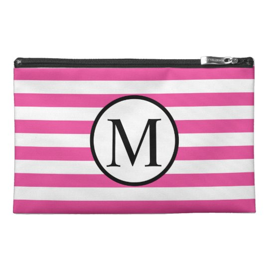 Simple Monogram with Pink Horizontal Stripes Travel Accessory Bag