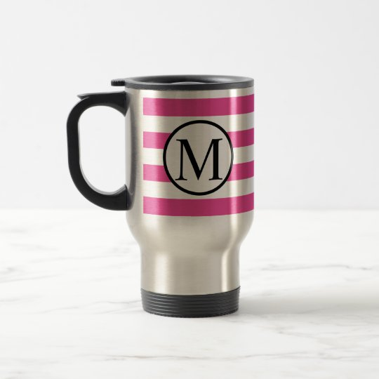 Simple Monogram with Pink Horizontal Stripes Travel Mug