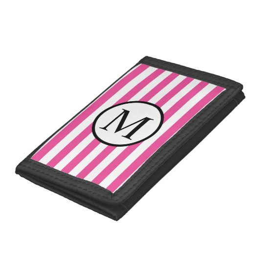 Simple Monogram with Pink Horizontal Stripes Trifold Wallets