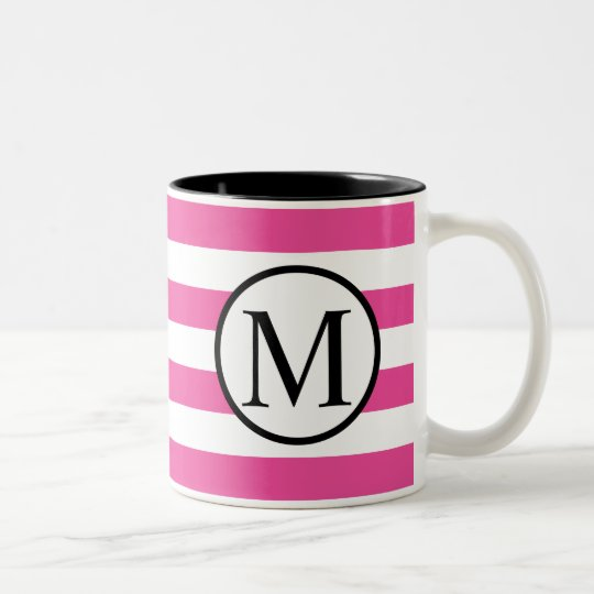 Simple Monogram with Pink Horizontal Stripes Two-Tone Coffee Mug