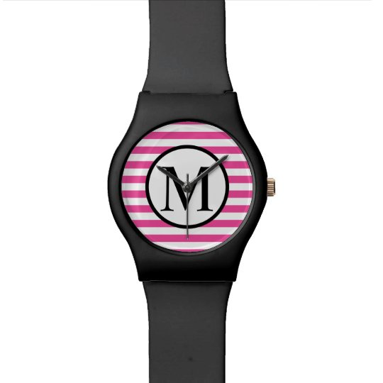 Simple Monogram with Pink Horizontal Stripes Watches