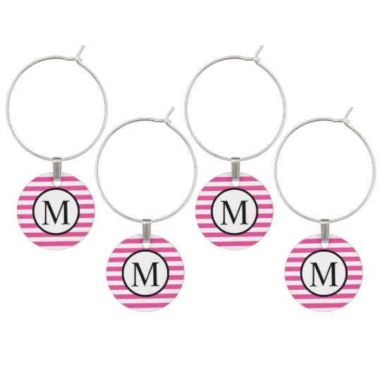 Simple Monogram with Pink Horizontal Stripes Wine Charms