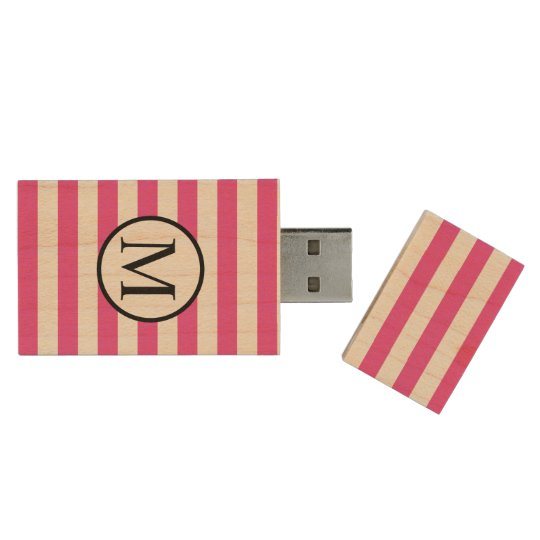 Simple Monogram with Pink Horizontal Stripes Wood USB 3.0 Flash Drive