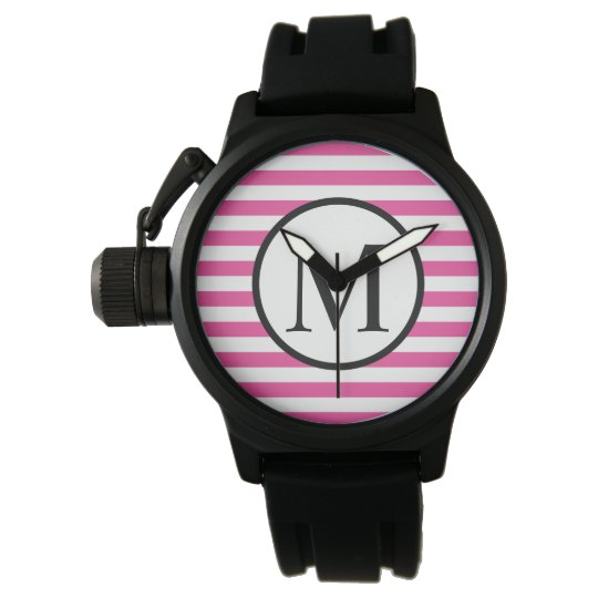 Simple Monogram with Pink Horizontal Stripes Wrist Watches