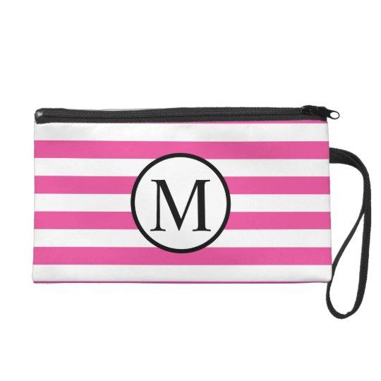 Simple Monogram with Pink Horizontal Stripes Wristlet
