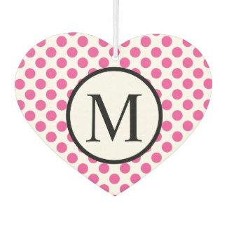 Simple Monogram with Pink Polka Dots Air Freshener