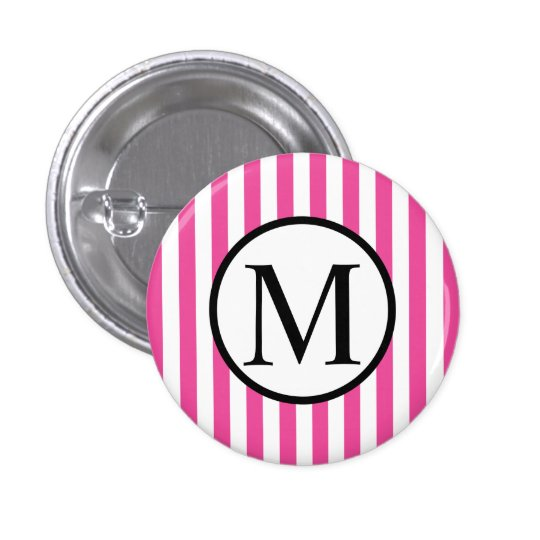 Simple Monogram with Pink Vertical Stripes 1 Inch Round Button
