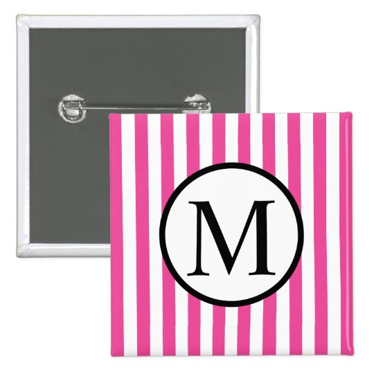 Simple Monogram with Pink Vertical Stripes 2 Inch Square Button