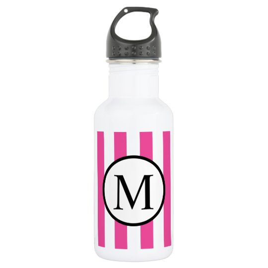 Simple Monogram with Pink Vertical Stripes 532 Ml Water Bottle