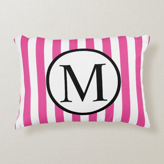 Simple Monogram with Pink Vertical Stripes Accent Pillow