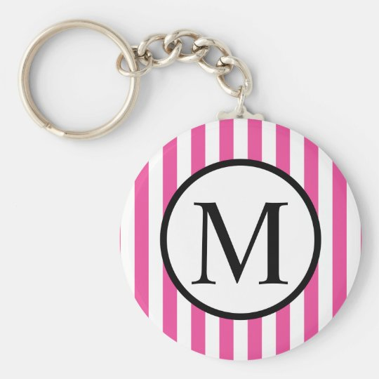Simple Monogram with Pink Vertical Stripes Basic Round Button Keychain
