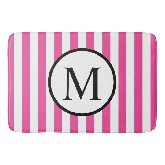 Simple Monogram with Pink Vertical Stripes Bath Mat