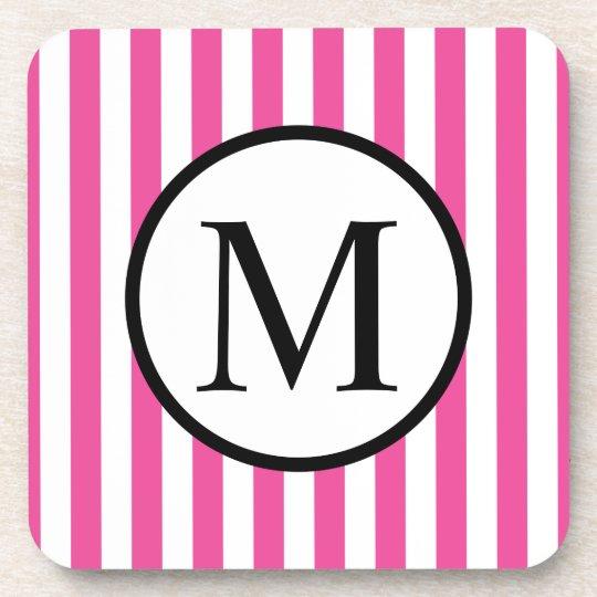 Simple Monogram with Pink Vertical Stripes Beverage Coaster