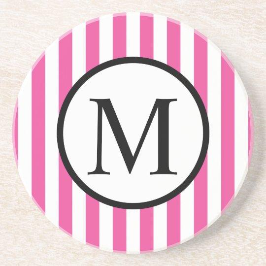 Simple Monogram with Pink Vertical Stripes Beverage Coasters