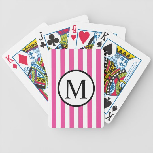 Simple Monogram with Pink Vertical Stripes Bicycle Playing Cards