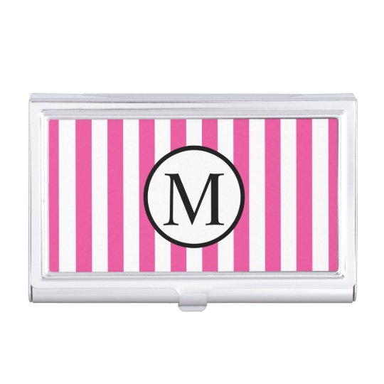 Simple Monogram with Pink Vertical Stripes Business Card Holder