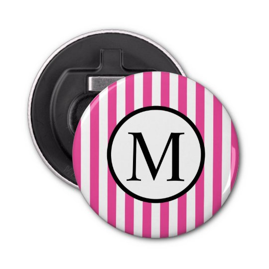 Simple Monogram with Pink Vertical Stripes Button Bottle Opener