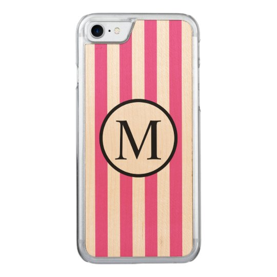 Simple Monogram with Pink Vertical Stripes Carved iPhone 7 Case