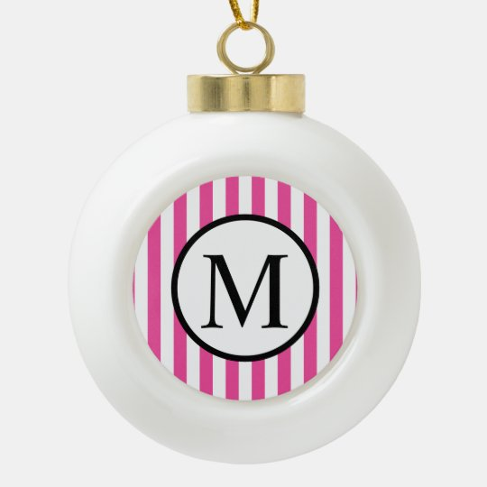 Simple Monogram with Pink Vertical Stripes Ceramic Ball Christmas Ornament