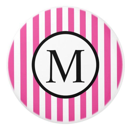 Simple Monogram with Pink Vertical Stripes Ceramic Knob