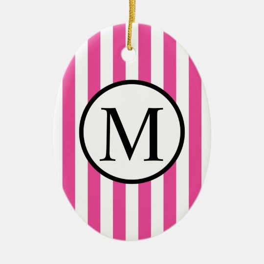 Simple Monogram with Pink Vertical Stripes Ceramic Oval Ornament