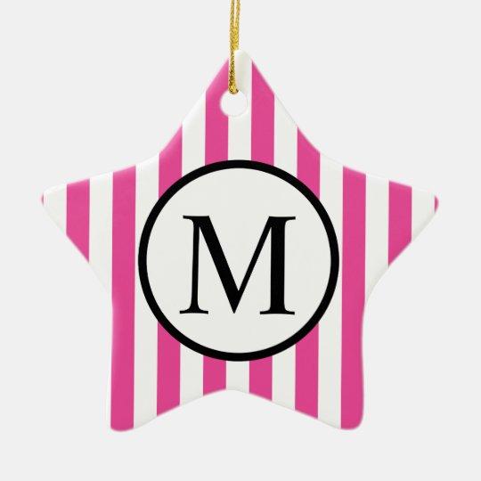 Simple Monogram with Pink Vertical Stripes Ceramic Star Ornament