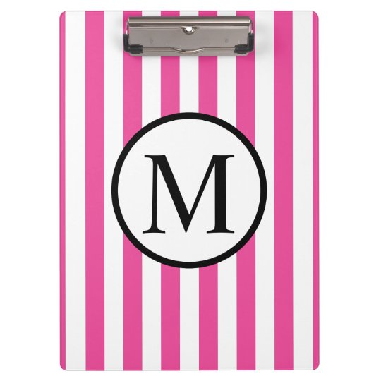 Simple Monogram with Pink Vertical Stripes Clipboard