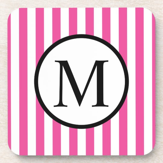 Simple Monogram with Pink Vertical Stripes Coaster