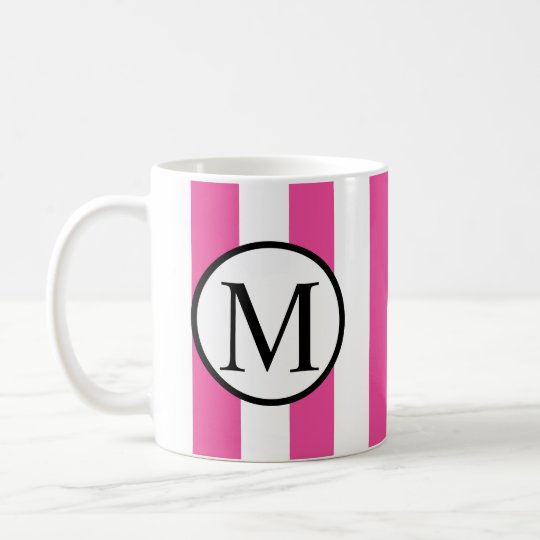 Simple Monogram with Pink Vertical Stripes Coffee Mug