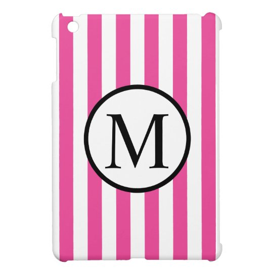 Simple Monogram with Pink Vertical Stripes Cover For The iPad Mini