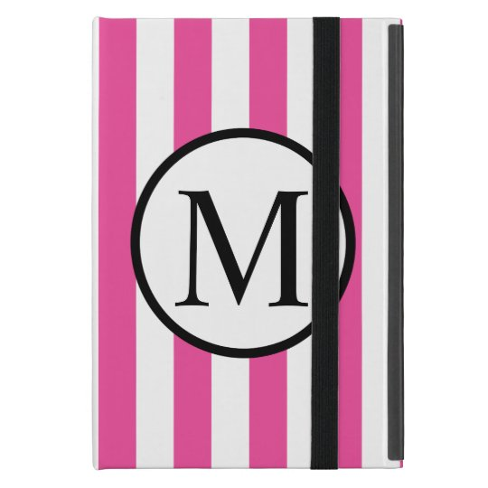 Simple Monogram with Pink Vertical Stripes Covers For iPad Mini