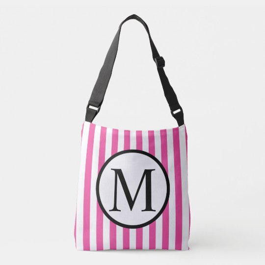 Simple Monogram with Pink Vertical Stripes Crossbody Bag