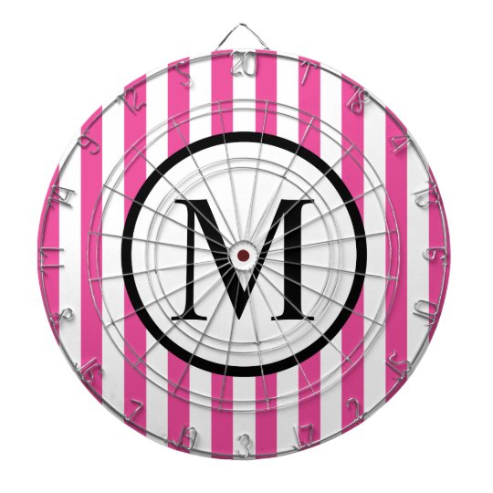Simple Monogram with Pink Vertical Stripes Dartboard