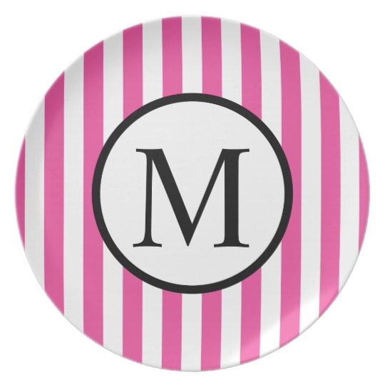 Simple Monogram with Pink Vertical Stripes Dinner Plates