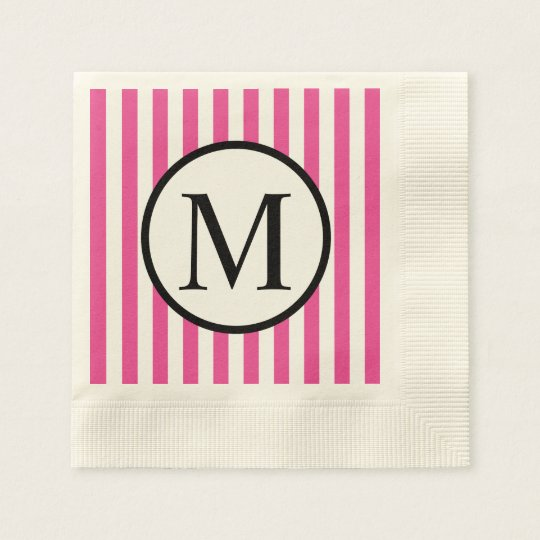 Simple Monogram with Pink Vertical Stripes Disposable Napkin