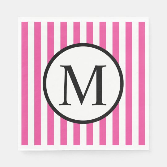 Simple Monogram with Pink Vertical Stripes Disposable Napkins
