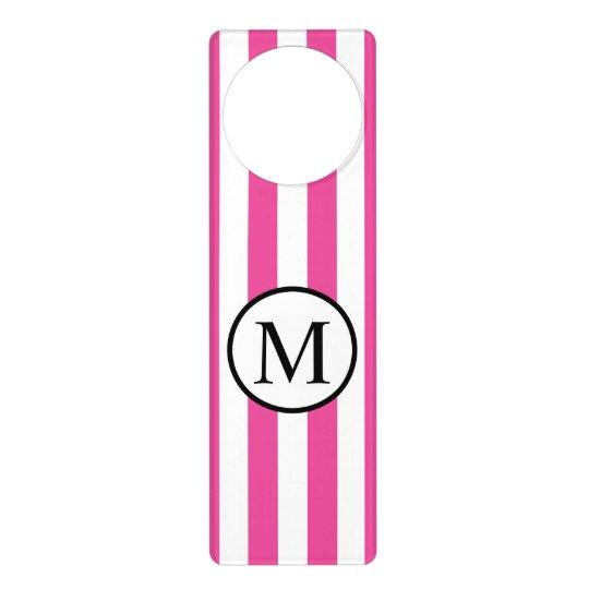 Simple Monogram with Pink Vertical Stripes Door Hanger