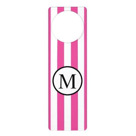 Simple Monogram with Pink Vertical Stripes Door Hangers