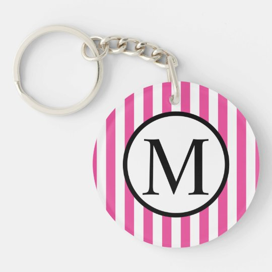 Simple Monogram with Pink Vertical Stripes Double-Sided Round Acrylic Keychain