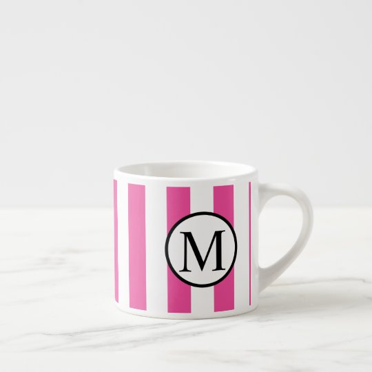 Simple Monogram with Pink Vertical Stripes Espresso Cup